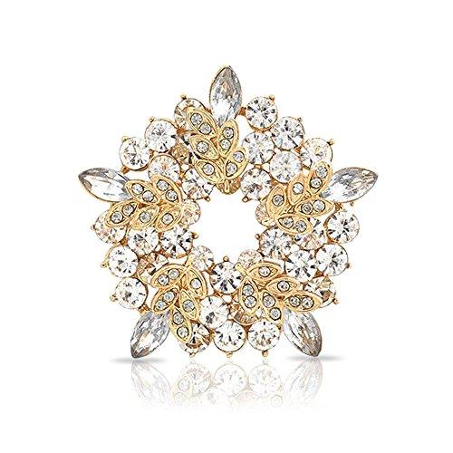 Bling Jewelry Zwei Ton Golden Kristall Vergoldete Urlaub Kreis Kranz Broschen & Anstecknadeln Für Damen