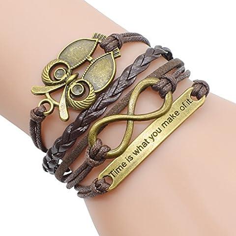 temps Usurier rétro Bronze Hibou Symbole Infini de temps à thème Unique tressé réglable Bracelet à breloques