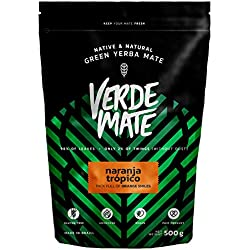 Yerba Verde Mate Green Naranja Tropico 500g | Verde Mate Green Té Naranja Tropico | Yerba Mate de Brasil | Alta calidad | Yerba mate con sabor | Sin gluten | Secada sin humo