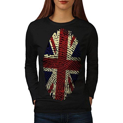 britisch Fingerabdruck Union Jack Damen XL Langarm-T-Shirt | Wellcoda Verteidigung Für Den Teufel
