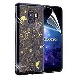 OKZone Galaxy A8 2018 Hülle, [Sternennacht-Serie] Luxus Glitzer Bling Glänzende [Ultra Dünn] Designer Weich TPU Bumper Case Cover TPU Bumper Schale für Samsung Galaxy A8 2018 (Schwarz)
