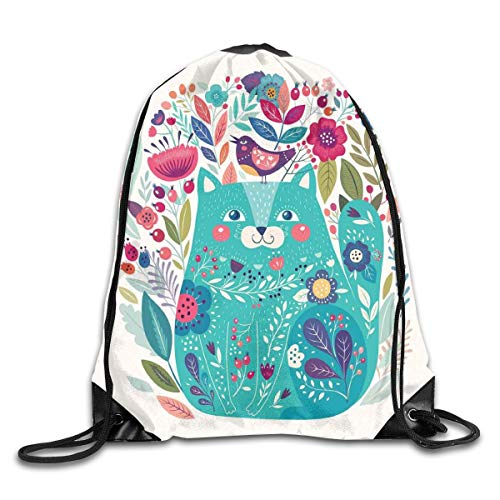GONIESA Fashion New Drawstring Backpacks Bags Daypacks,Cute Kitty Surrounded by Birds Flowers Ladybugs Inspirational Folk Baby Theme Picture,5 Liter Capacity Adjustable for Sport Gym Traveling -
