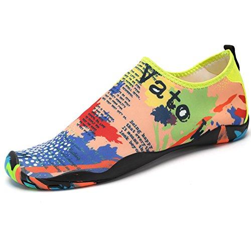 SAGUARO® Aqua Water Shoes Séchage Rapide Chaussures de Sport Aquatique Plage Surf Yoga Chaussons de Nager Eté Homme Femme, Carte 37