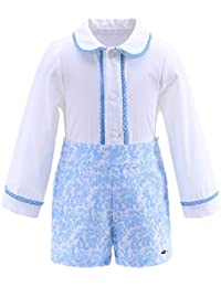 e22f17fc0 Lajinirr Autumn Boy Clothing Sets Lace Hem Collar White Shirt+Blue Jacquard  Pant