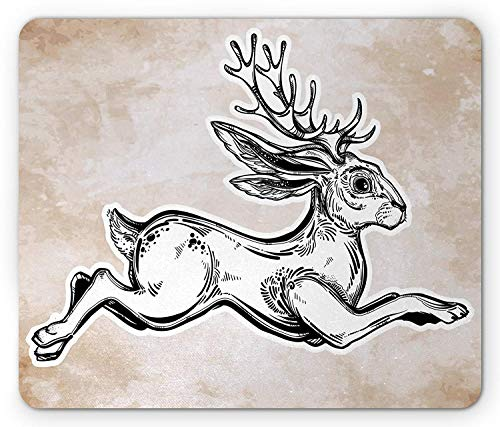 Geweih Mauspad Jacalope Magische Kreatur Laufen Skizze Kunst Mythologie Abstrakte Kunst Standardgröße Rechteck Anti-Rutsch Gummi Mousepad schwarz weiß hell karamell 25x30cm