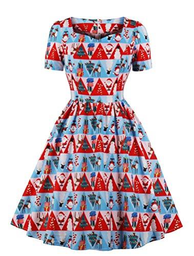 Nicetage Damen 50er Jahre Vintage Square Neck Swing Dress Fancy Pattern Print Tee Kleid - Rot - (40 DE) X-Large Print Tee Kleid