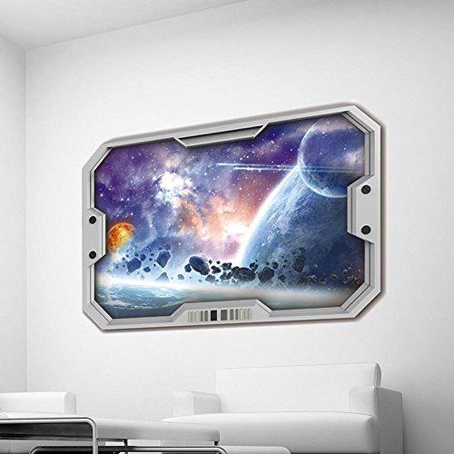 Karikatur 3D Raumfahrzeug Universum Erde Sternenhimmel Wandaufkleber Home Dekoration für Kinder Zimmer Kindergarten Schlafzimmer Poster Wallpaper