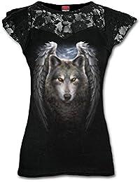Spiral T-shirt à mancherons doublés de dentelle pour femme Motif ailes de Lycos Noir