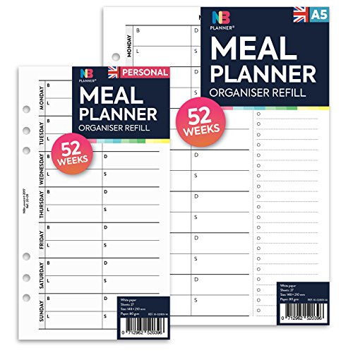 NBplanner Mahlzeitenplaner mit Einkaufsliste, Nachfüllblätter, liniert, Filofax A5-kompatibel mint (Adressbuch Mint)