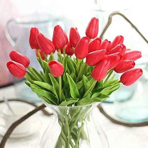 Waymeduo 10 Stück Tulpe künstliche Blume Latex Real Touch Bridal Wedding Bouquet Home Decor(Rot) (Rote Mittelstücke Der Wedding)