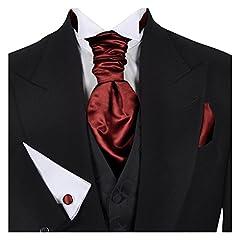 Idea Regalo - GASSANI (Set Di 3 Plastron Cravatta Larga, Cravatta Da Sposa, Rossa, Fazzoletto Da Taschino Gemelli, Al Gilet Da Sposa Fracetto Da Sposa
