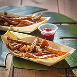 50 x Snackschalen natur 22cm | 100% kompostierbar | edel & dekorativ | Bio Einweg-Geschirr | Einwegschalen perfekt für Finger-Food | Party-Geschirr Holzschiffchen - 3