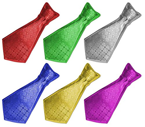 6 Glitzerkrawatten kurz verschiedene Farben Halloween Karneval Party Fasching Krawatte
