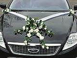SPITZE STRAUß Auto Schmuck Braut Paar Rose Deko Dekoration Autoschmuck Hochzeit Car Auto Wedding Deko PKW (Weiß)