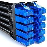 deleyCON 10x 2m CAT6 Cavo di Rete Set - U-UTP RJ45 CAT-6 LAN Cavo Patch Cavo Rame per Interruttore Router Modem Ripetitore - Nero