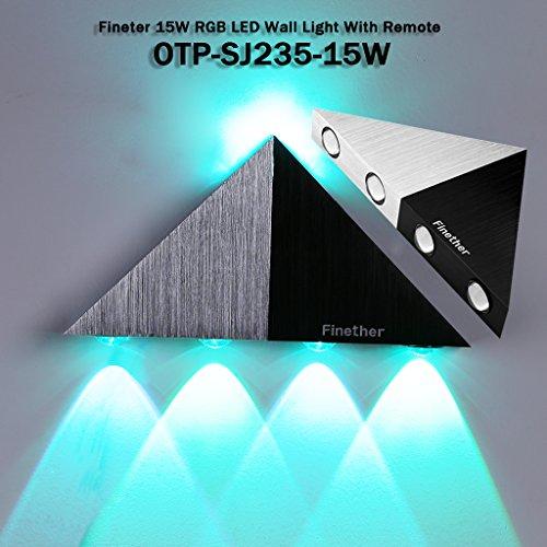 Finether 15W LED Wandleuchte Wandlampe Wandfluter Flurlampemit 2 Leuchten   Mehrere Modi Wandleuchte Fernbedienung für Innen Schlafzimmer Wohnzimmer Treppenhaus Flur Wand   Modern Design Lampe Wandbeleuchtung Wandlicht Wandstrahler Effektlampeindirektes Licht RGB Gradient Lichter