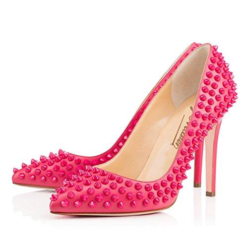 Onlymaker Damenschuhe High Heels Geschlossene Toe mit Nietendecortation Pumps Pink