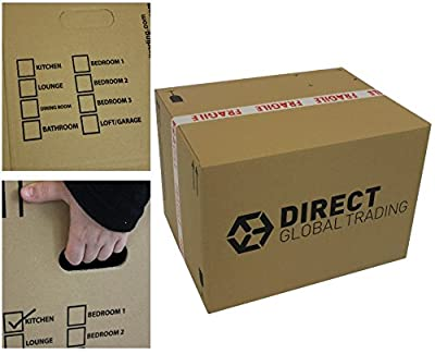 10 Strong Extra Large Cardboard Storage Packing Moving House Boxes Double Walled with Carry Handles and Room List 24'' x 18'' x 16''