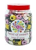 Liquorice Allsorts 1.4Kg. Big Feast of Sweets jar by Britten & James. Dulces tradicionales británicos en un tarro reutilizable de plástico de 2500 ml. Un regalo perfecto.