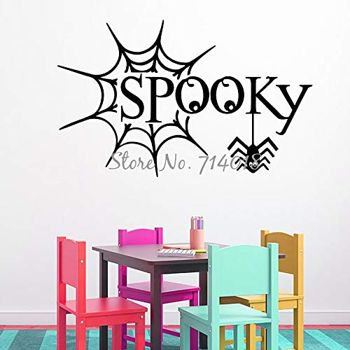 yaoxingfu Happy Halloween Wandtattoos Spinnennetz Aufkleber Spooky Halloween Vinyl Aufkleber Home Design Kunst Wandbild Kids Play Room Decor   56x89cm (Pin Up Halloween Kunst)