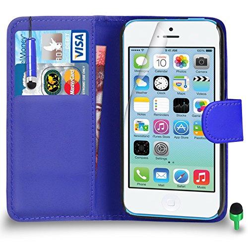 Apple iPhone 5C hülle Prämie Leder BLAU Brieftasche Flip Fall Abdeckung mit Mini Tippen Sie auf Stift GRÜN Kappe Bildschirmschutz & Poliertuch