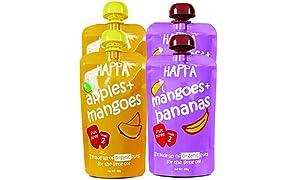 Happa Organic Baby Food, Fruit Puree (Mango + Banana, Apple + Mango) Stage 2, 6 Months+ , Pack of 4, 100 gm Each