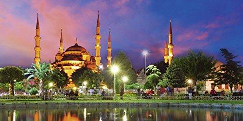 Artland Echt-Glas-Wandbild Deco Glass TTstudio Blaue Moschee in Istanbul - Türkei Architektur Gebäude Sakralgebäude Fotografie Blau 50 x 100 x 1,1 cm A9DJ