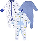 Gopuja New Born Baby Multi-Color Long Sleeve Cotton Sleep Suit Romper for Boys and Girls Set of 3 (Blue, 3-6 Months)