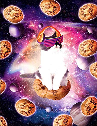 Price comparison product image Retro 80's Space Cat Riding A Cookie Notebook: Cornell Notes Style Note-Taking Notebook