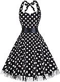 OTEN Damen Neckholder Kleid Gr. XX-Large, Black Dots