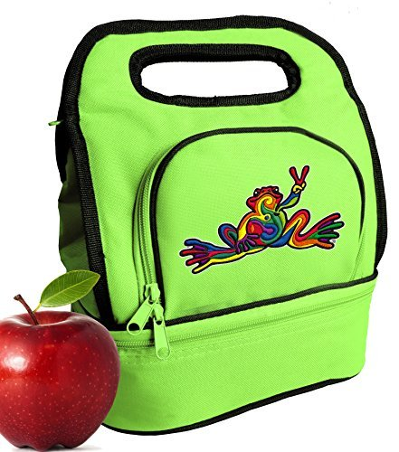 peace-frogs-lunch-bag-super-cool-two-part-cooler-lunchbox-green-by-broad-bay