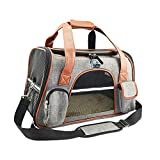 Premium Cat Carrier Travel Soft Sided for Small Cats and Dogs Portable Cozy Self Locking Zipper Cat Bag, Car Seat Safe Carrier Light Gray, Medium