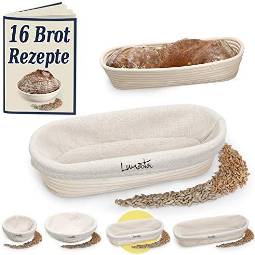 Lunata (Upgrade 2019 Gärkörbchen inkl. Rezeptbuch mit 16 leckeren Backrezepten – Der ideale Gärkorb für Brotteig aus natürlichem Peddigrohr (oval   28 cm) – mit Leineneinsatz