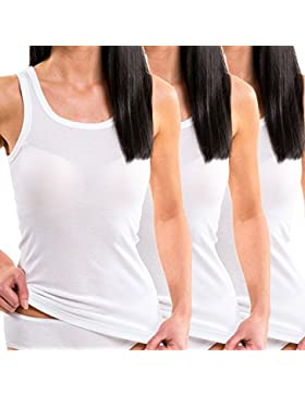 HERMKO 1325 Kit de tres camisas interiores para mujer de diferentes colores, hechas de algodón 100% tank top en...
