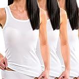 HERMKO 1325 3er Pack Damen Longshirt ideal für drüber und drunter (Weitere Farben), Farbe:weiß, Größe:32/34 (XS)