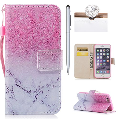 iPhone 6S Plus Hülle,iPhone 6 Plus Case,iPhone 6S Plus Cover - Felfy PU Ledertasche Strap Flip Standfunktion Magnetverschluss Luxe Bookstyle Ledertasche Nette Retro Mode Painted Muster Abdeckung Schut Marmor Rosa /
