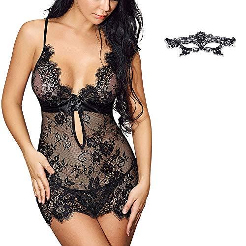 SHOLOV Babydoll Lingerie Sexy Erotico con Maschera di pizzo Donna Pizzo Lingerie con String Perizoma Prospettiva Pigiama Per La Notte di Nozze