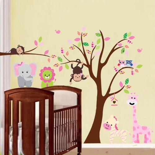 53a7cb8b1ef7 Nouveau mur Fashion grand singe animal hibou arbre sticker mural Art PVC en  Kids Nursery Chambre
