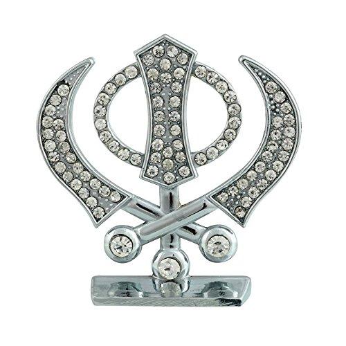 GCT Sikh Religious Symbol Khanda Sahib Idol Metal Statue for Car Dashboard | Mandir Pooja Murti |Temple Puja | Home Décor | Office Showpiece