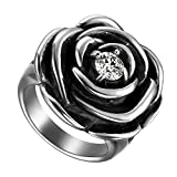 Flongo Bague Femme Acier Inoxydable Rétro Rose Fleur Plaqué Zircon Gothique Couleur Argent Noir Taille 57