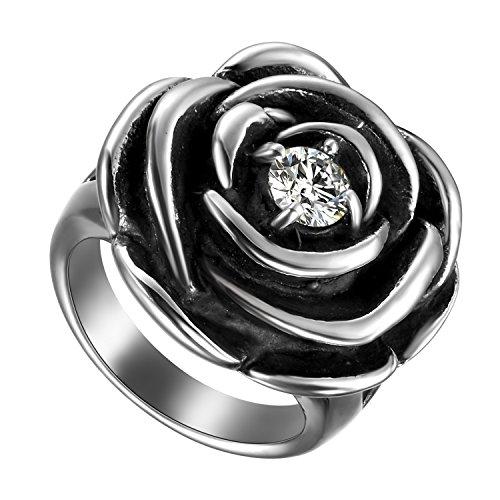 Flongo Bague Femme Acier Inoxydable Rétro Rose Fleur Plaqué Zircon Gothique Couleur Argent Noir Taille 53