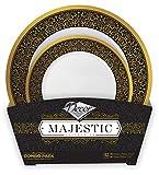 Decorline -GESCHIRR SET FÜR 16 PERSONEN- Schwarz Gold -Partyteller-Plastikteller - ENTHÄLT:16 stück EinwegDiner Teller 26 cm+ 16 stück Einweg Desserteller 19 cm -Majestic Collection.