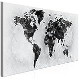 decomonkey | Bilder Weltkarte 100x45 cm | 1 Teilig | Leinwandbilder | Bild auf Leinwand | Vlies | Wandbild | Kunstdruck | Wanddeko | Wand | Wohnzimmer | Wanddekoration | Deko | Landkarte Welt Kontinent Schwarz Grau