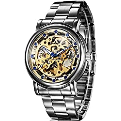 Alienwork IK Automatic Watch Self-winding Skeleton Mechanical Stainless Steel gold silver 98228G-02