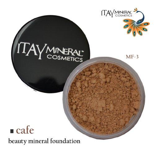 Itay Fond de Teint Mineral 9gr Poudre Libre MF3 - CAFE AU LAIT + 7 Pinceau Lily Set Cala 70816