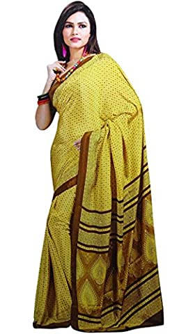 Indian Ethnic Wear Crepe Silk Sari With Unstitched Blouse Printed Sarees