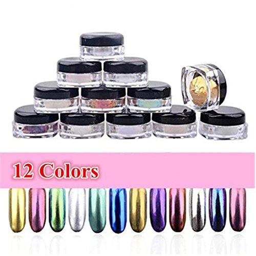 Covermason 12 couleurs Glitter poudre Shinning ongles miroir maquillage Art bricolage Chrome Pigment de la poudre avec une éponge bâton des ongles