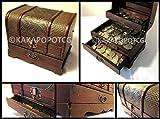 Cassapanca in legno con cassetto per monete da collezione fantasy gioco di carte dadi con mazzo di carte portagioie con serratura chiave in metallo da tavolo gioco di ruolo giochi