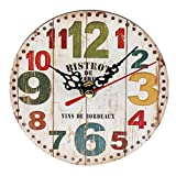 Sanzhileg Práctico Artístico Creativo Estilo Europeo Ronda Colorida Rústica Decorativa Antigua Casa de Madera Reloj de Pared