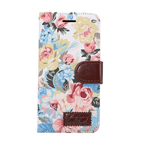 [A4E] Handyhülle passend für LG G5 (LGH850) Kunstleder Tasche, Flip Cover, seitlicher Magnetverschluss, Standfuß, Kreditkartenfächer - mit schönem floralen Blumenmuster (weiß, blau, rot, pink)
